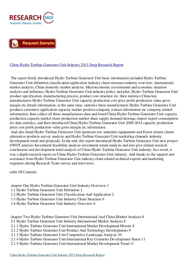 China Hydro Turbine Generator Unit Industry 2013 Deep Research Report  The report firstly introduced Hydro Turbine Generat...