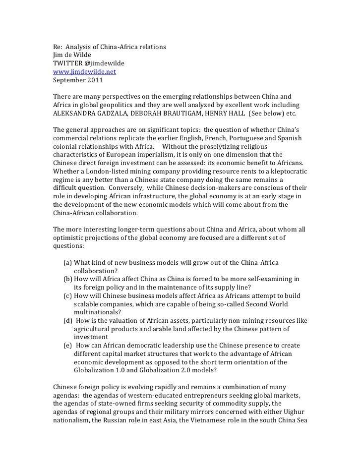 Re:  Analysis of China-Africa relations<br />Jim de Wilde   <br />TWITTER @jimdewilde<br />www.jimdewilde.net <br />Septem...