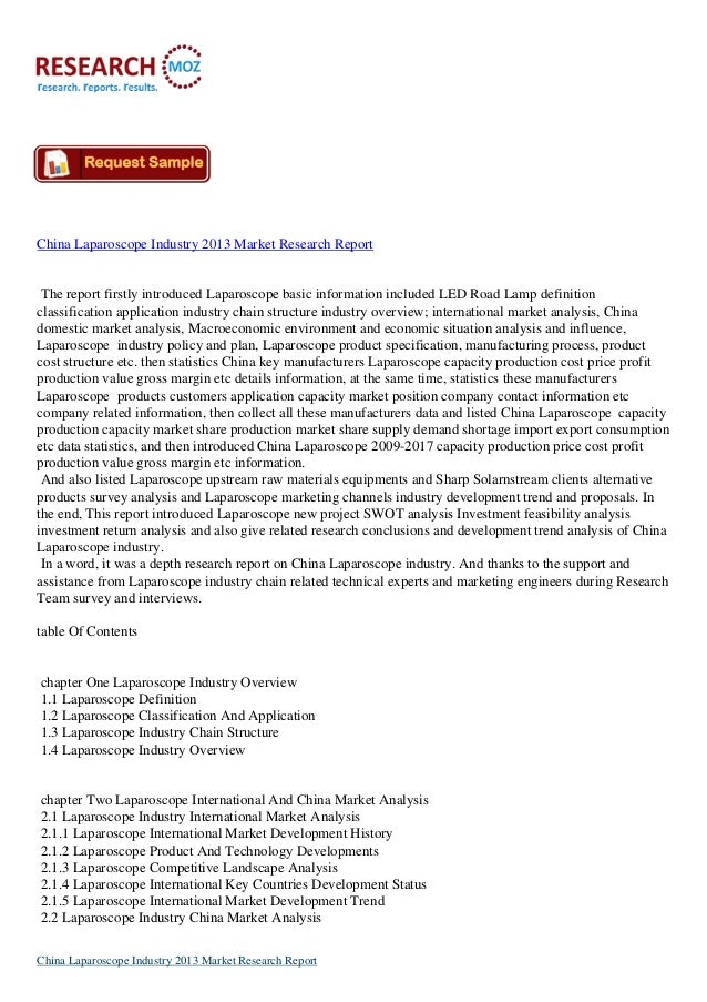 China Laparoscope Industry 2013: Latest market Research Reports