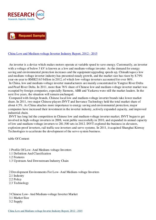 China Low and Medium-voltage Inverter Industry Report, 2012 - 2015An inverter is a device which makes motors operate at va...