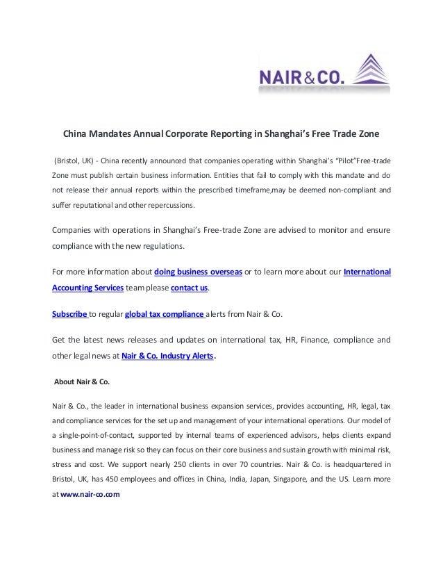 China Mandates Annual Corporate Reporting in Shanghai Free Trade Zone