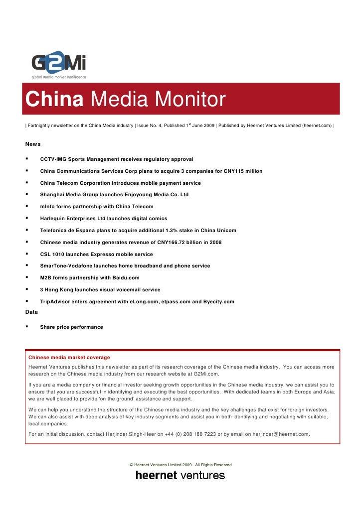 China Media Monitor (Issue 4)