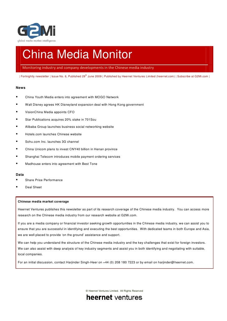 China Media Monitor (Issue 6, June 2009)
