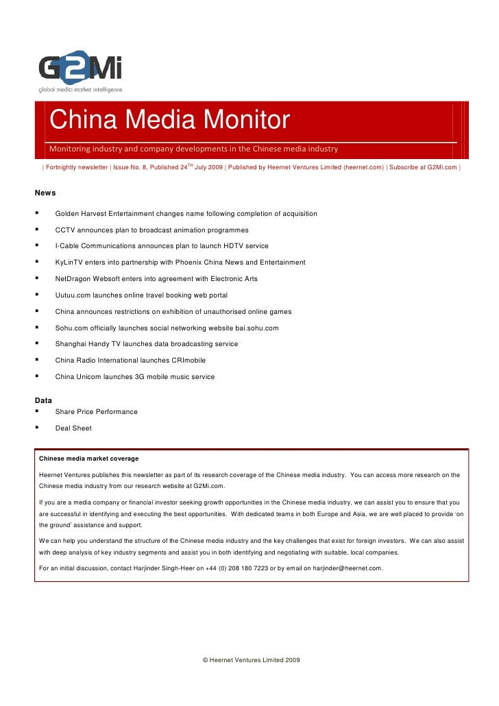 China Media Monitor    Monitoring industry and company developments in the Chinese media industry   | Fortnightly newslett...