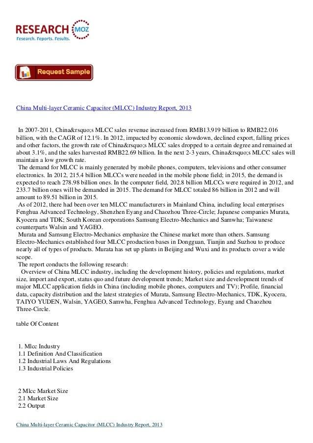 China Multi-layer Ceramic Capacitor (MLCC) Industry Report, 2013 In 2007-2011, China's MLCC sales revenue increased ...
