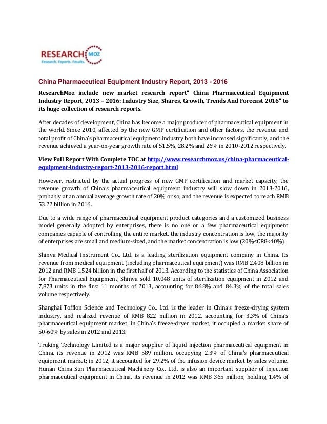 """China Pharmaceutical Equipment Industry Report, 2013 - 2016 ResearchMoz include new market research report"""" China Pharmace..."""