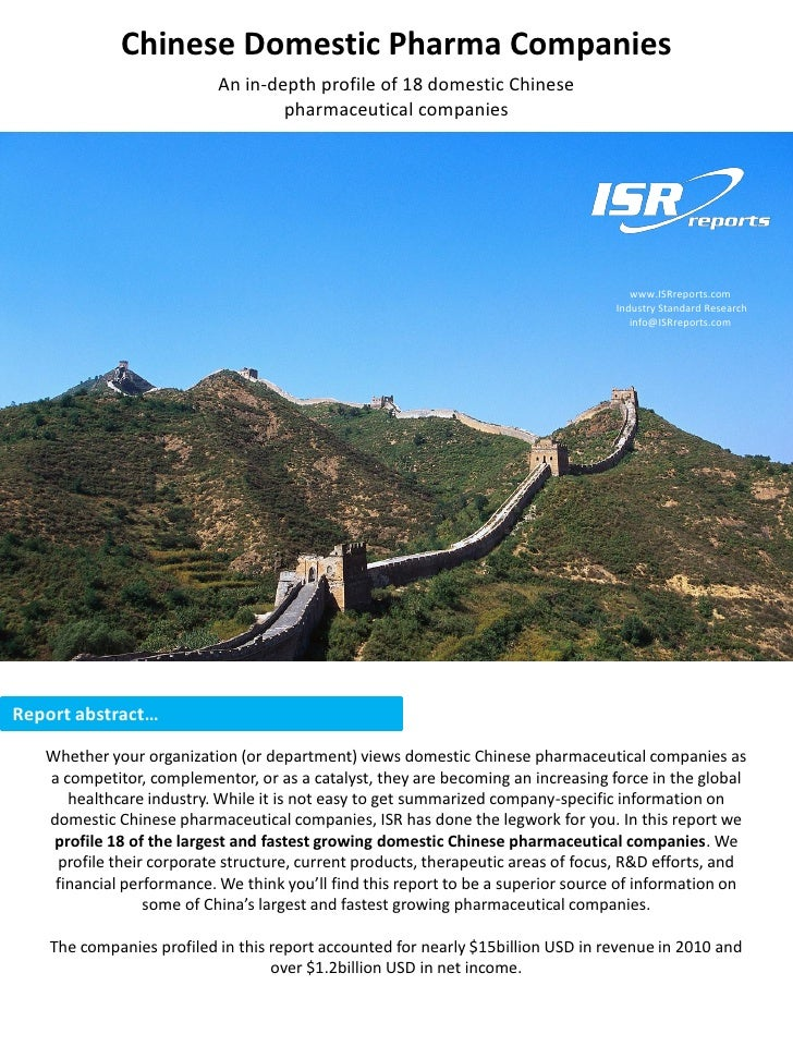 Chinese Domestic Pharma Companies                           An in-depth profile of 18 domestic Chinese                    ...