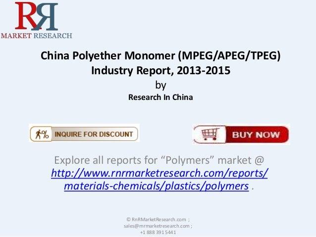 China Polyether Monomer Industry (MPEG/APEG/TPEG)  Report, 2013-2015