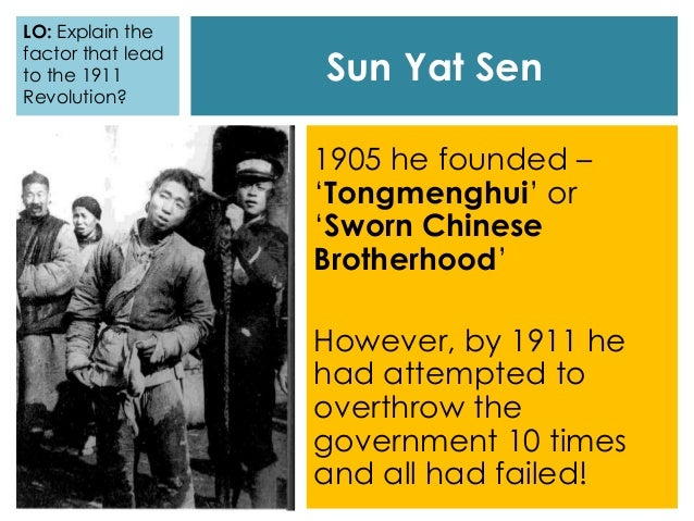 sun yat sen s role in china s 1911 1911 revolution opened door for china's the 1911 revolution was a great victory sun yat-sen made clear in the declaration of provisional.