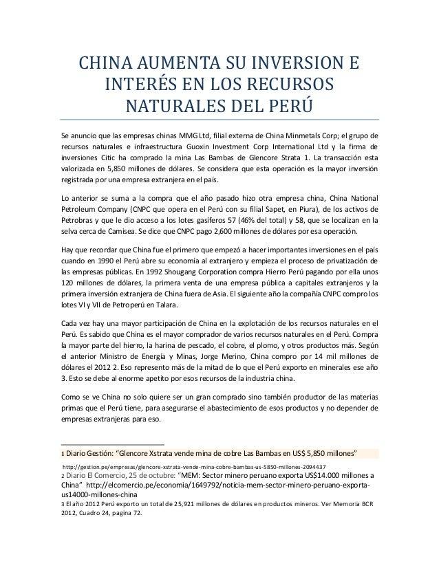 China y los recursos naturales del Peru