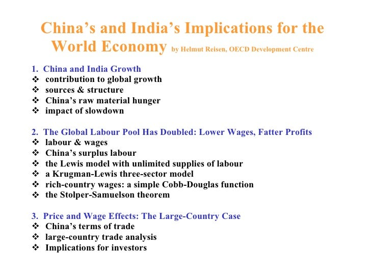 China's and India's Implications for the World Economy