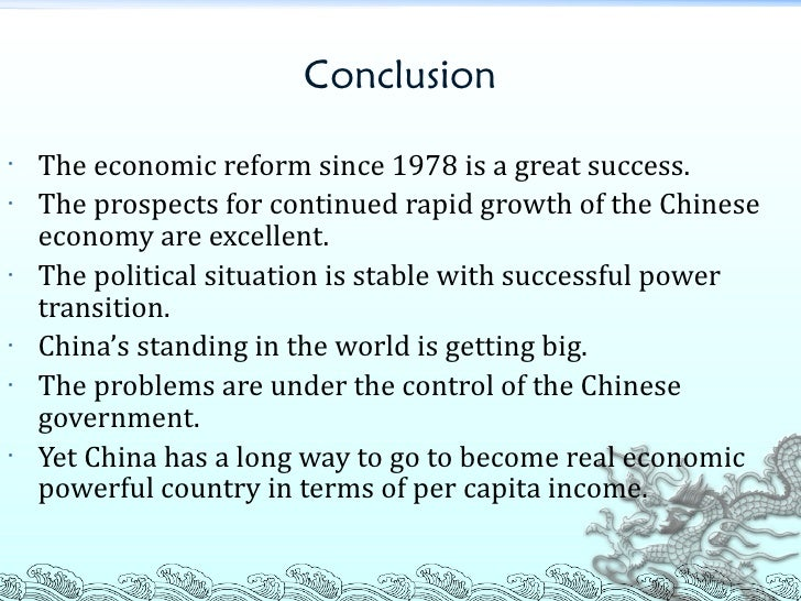 an analysis of the characteristics of the chinese economic reform A pioneering monograph that shows the world outside china how chinese firms are being run during the period of economic reform, including leadership, decision making, management of marketing and purchasing transactions, work roles of senior managers, personnel practices, reward systems, and management of international joint ventures.