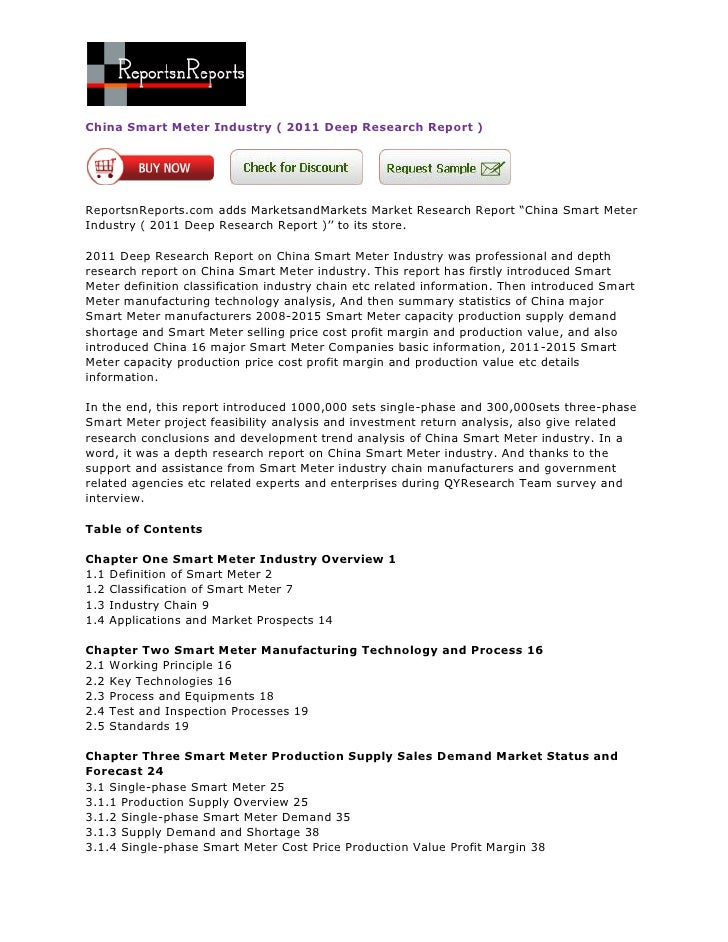 China Smart Meter Industry ( 2011 Deep Research Report )ReportsnReports.com adds MarketsandMarkets Market Research Report ...