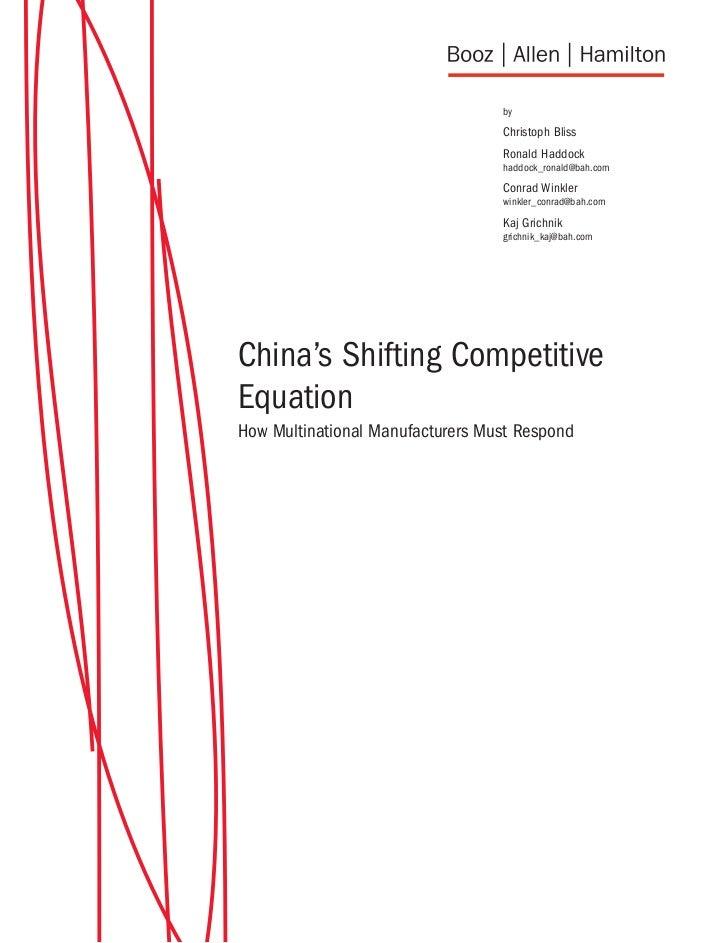 Chinas Shifting Competitive Equation