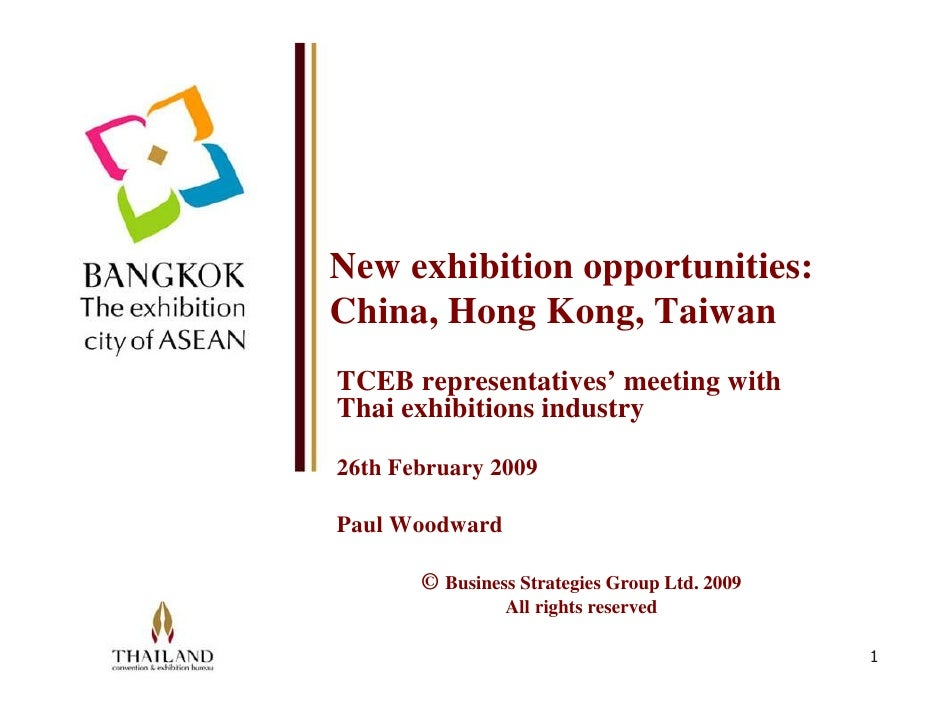 New exhibition opportunities: China, Hong Kong, Taiwan TCEB representatives' meeting with Thai exhibitions industry  26th ...