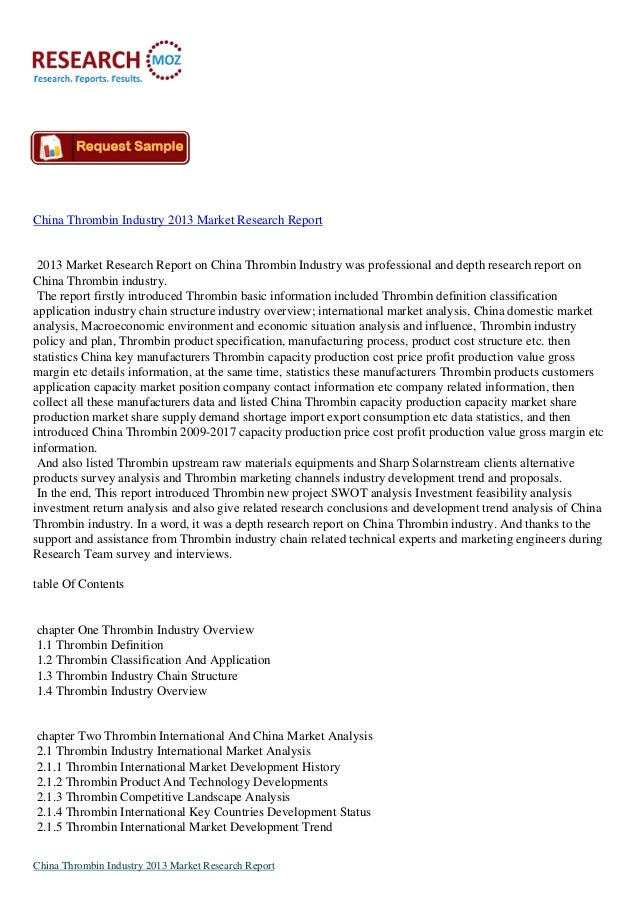 China Thrombin Industry 2013 Market Research Report 2013 Market Research Report on China Thrombin Industry was professiona...