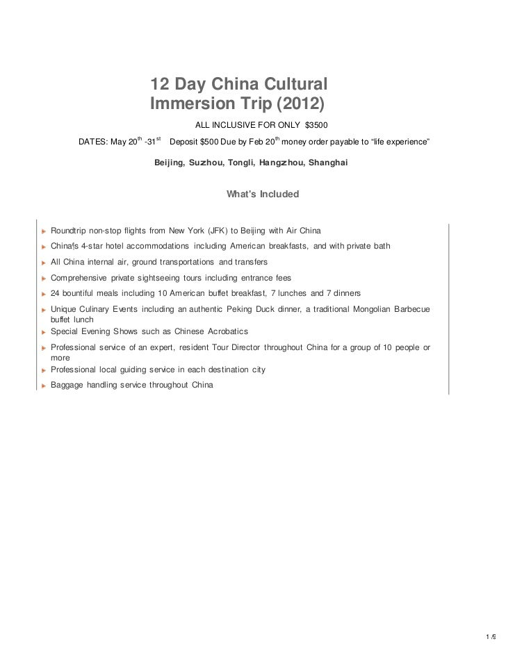 12 Day China Cultural                             Immersion Trip (2012)                                        ALL INCLUSI...