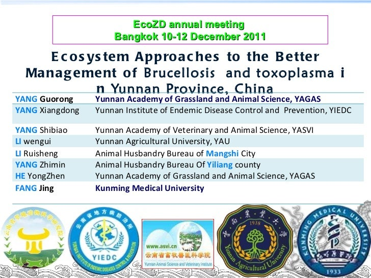 Ecosystem approaches to the better management of Brucellosis and Toxoplasma in Yunnan Province, China