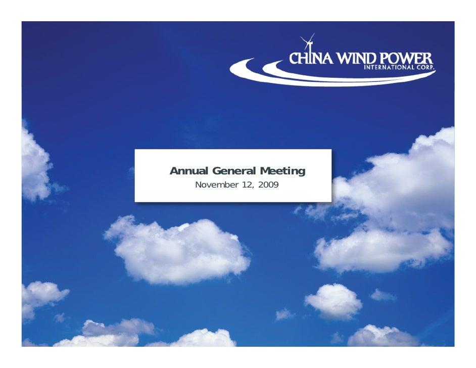 Annual General Meeting November 12, 2009