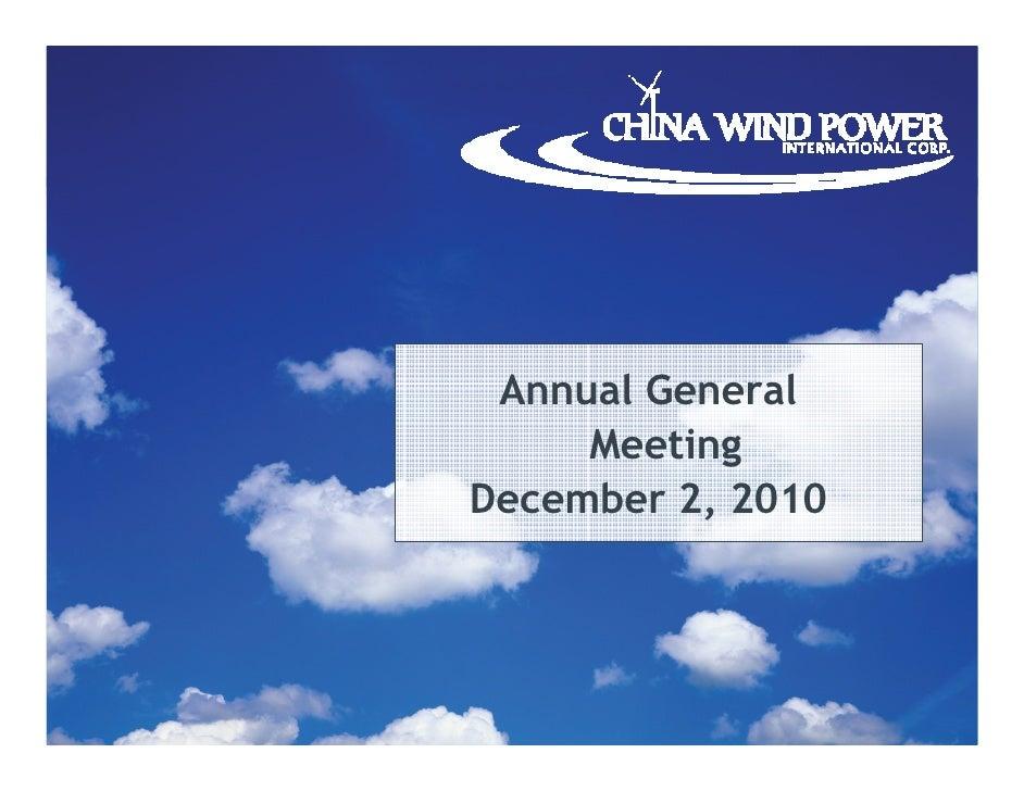 Annual General     MeetingDecember 2, 2010