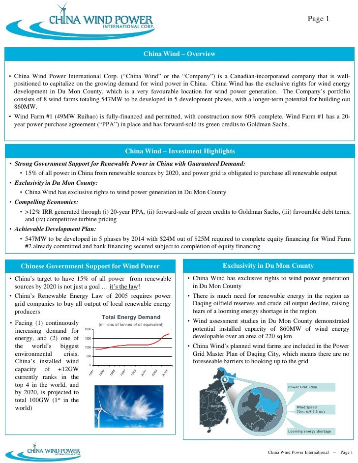 China Wind Power International Corp. Briefing Memo 20090601