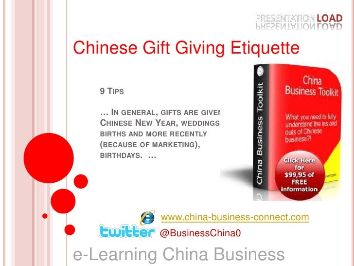 Chinese Gift Giving Etiquette<br />9 Tips… In general, gifts are given at Chinese New Year, weddings, births and more rece...