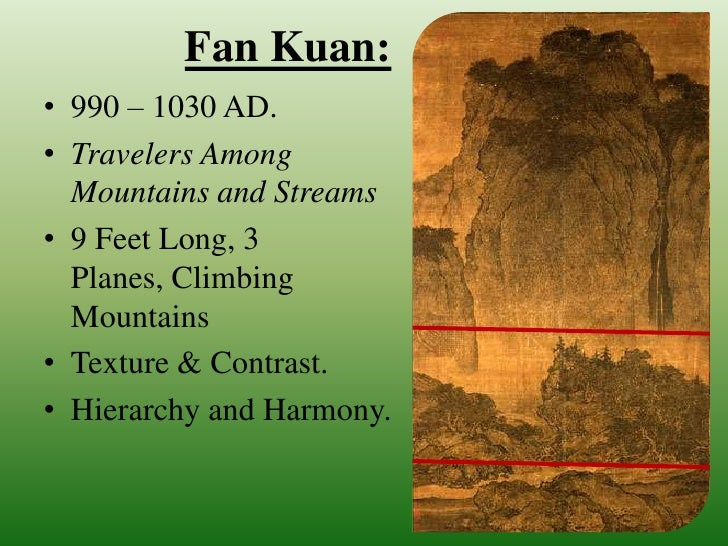 "on fan kuans travelers among mountains and streams essay Xuanhe painting manual, a catalogue of the imperial collection of painting under the song emperor huizong (r 1100-1125), records 58 works by fan kuan but none with the title ""travelers among mountains and streams""."