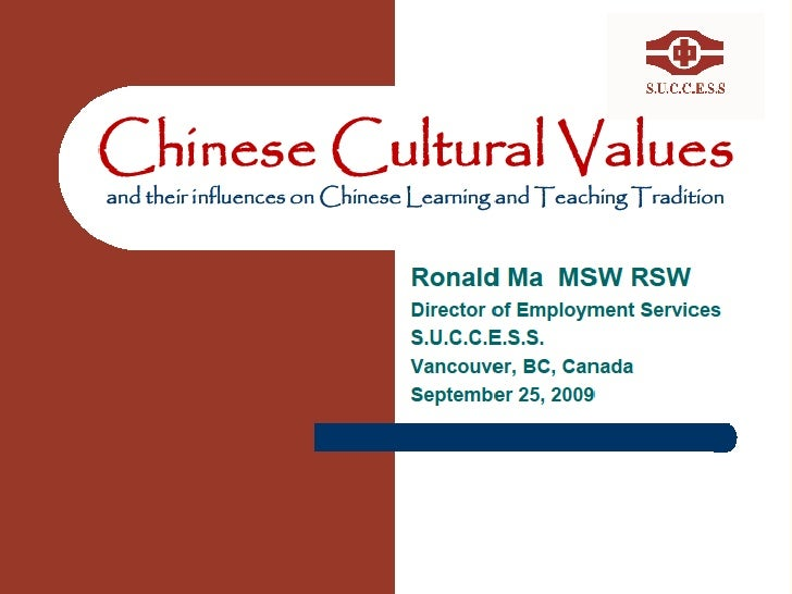 Chinese Cutural Value And Their Influence On Chinese Learning And Teaching