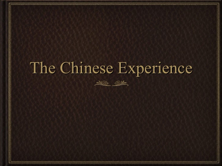 Chinese experience presentation