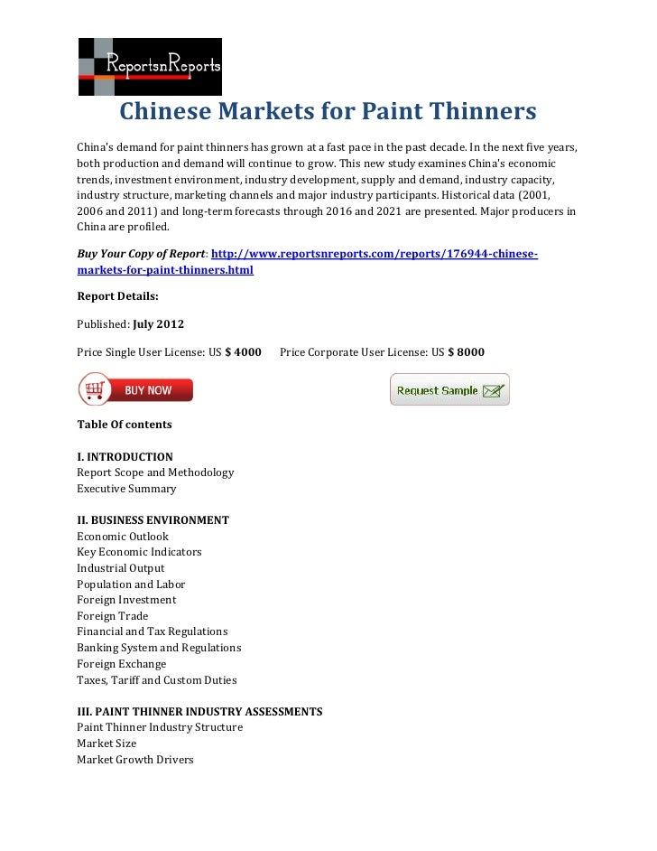 Chinese Markets for Paint ThinnersChinas demand for paint thinners has grown at a fast pace in the past decade. In the nex...