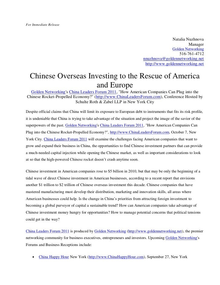 Chinese overseas investing to the rescue of america and europe