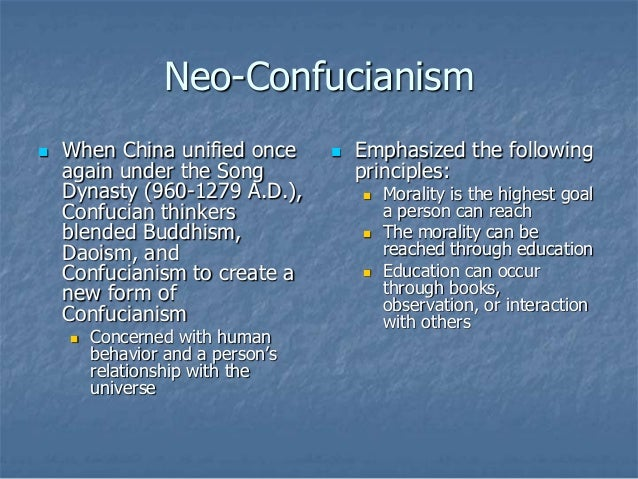 neo confucianism Well, neo-confucianism differed from confucianism in many ways confucianism was the belief of a real world, not an illusion, as well as confucianism.