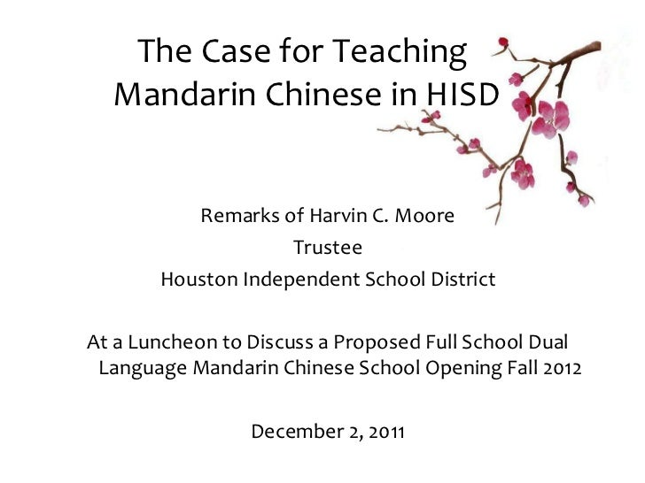 The Case for Teaching Mandarin Chinese in HISD