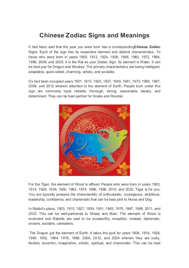 Chinese Zodiac Signs and MeaningsIt had been said that the year you ...