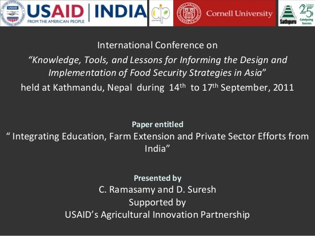 """International Conference on """"Knowledge, Tools, and Lessons for Informing the Design and Implementation of Food Security St..."""