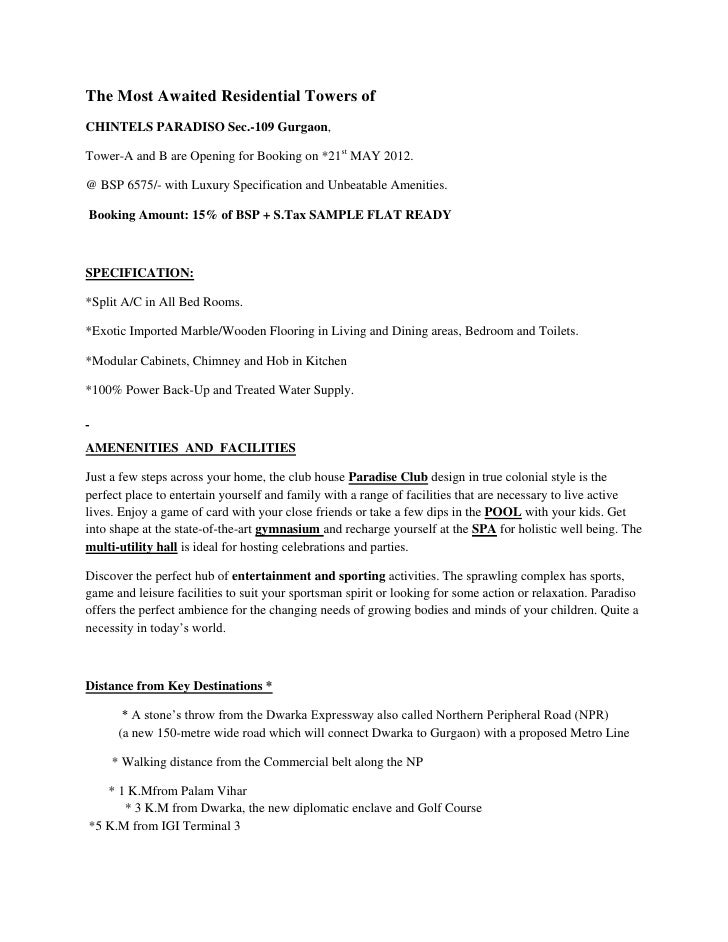 Chintels ParadisoTower A B Details 9810309288