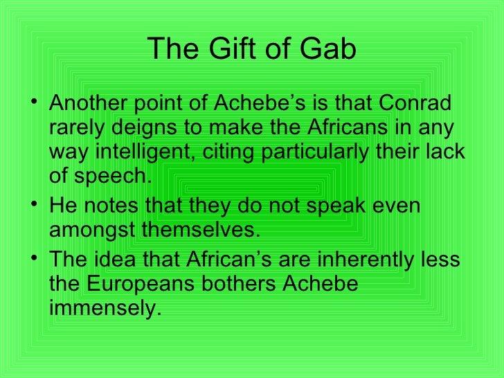 comparison of conrad s and achebe s presentation Compare comparison - conflict at conrad's heart of darkness and achebe's things fall apart   1004949.