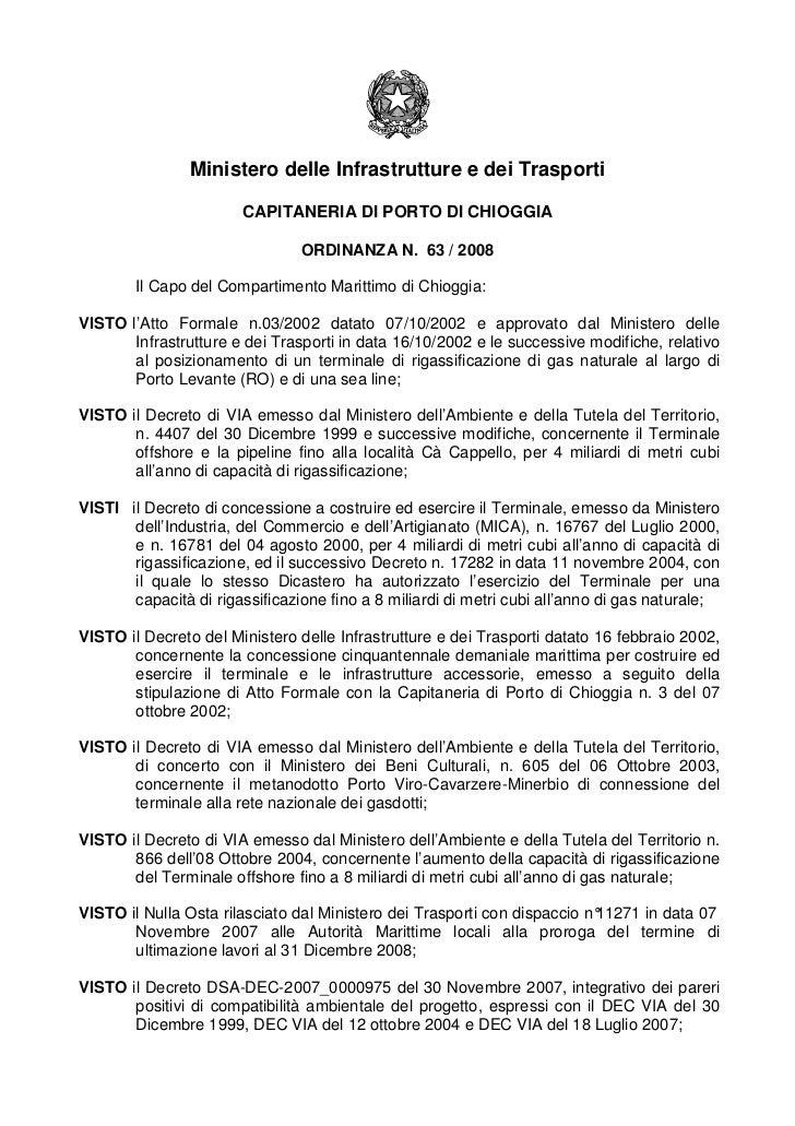 Ministero delle Infrastrutture e dei Trasporti                       CAPITANERIA DI PORTO DI CHIOGGIA                     ...