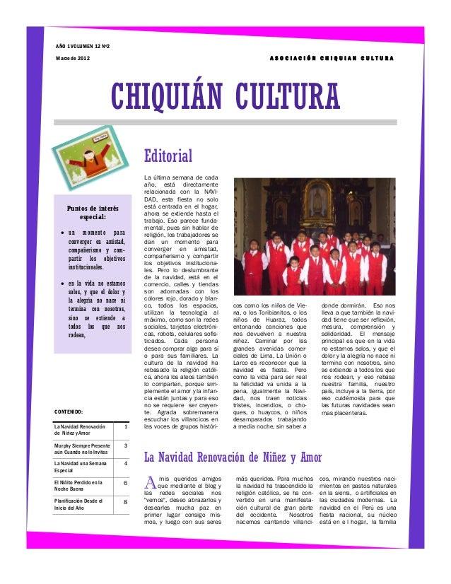AÑO 1 VOLUMEN 12 Nº2Marzo de 2012                                                                ASOCIACIÓN CHIQUIAN CULTU...