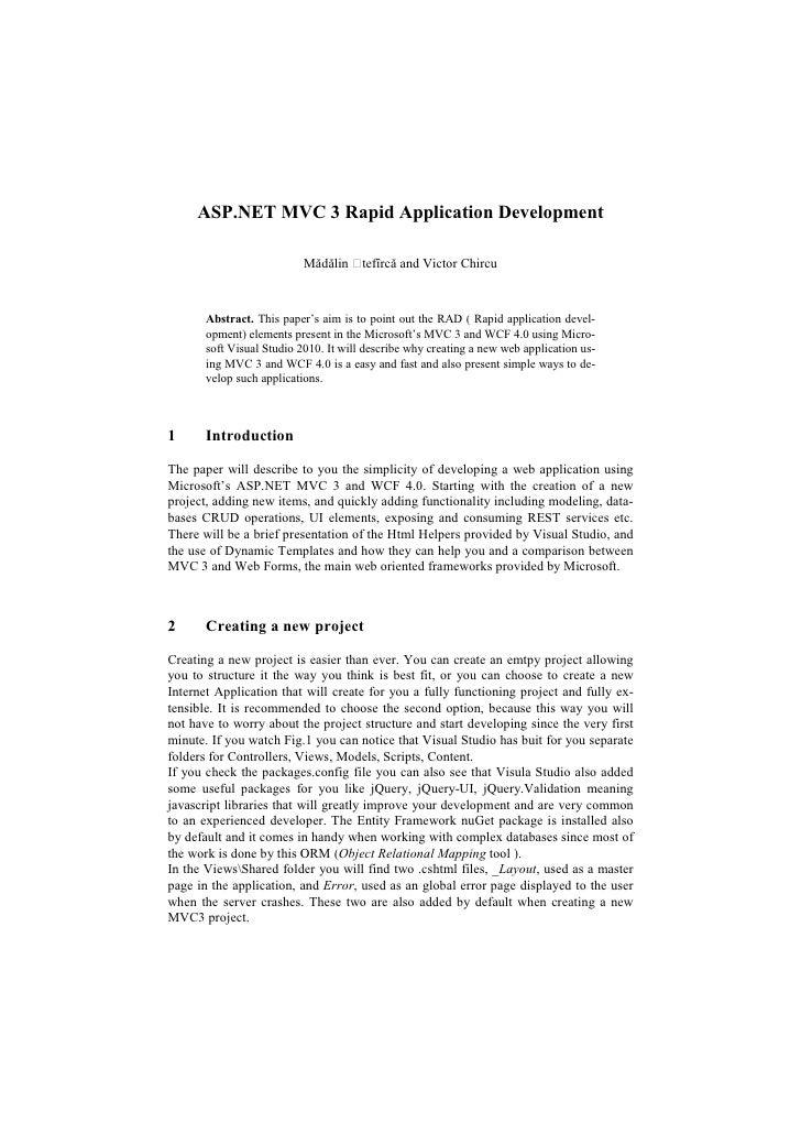 ASP.NET MVC 3 Rapid Application Development                           Mădălin     tefîrcă and Victor Chircu       Abstract...