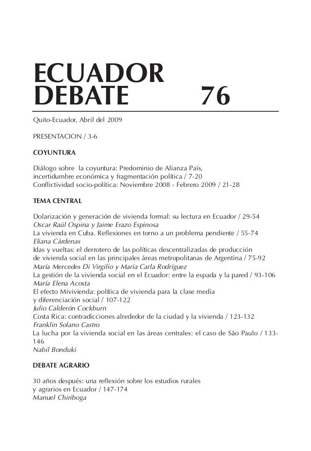 ECUA OR     DDE A E  B T                                                   76Quito-Ecuador, Abril del 2009PRESENTACION ...
