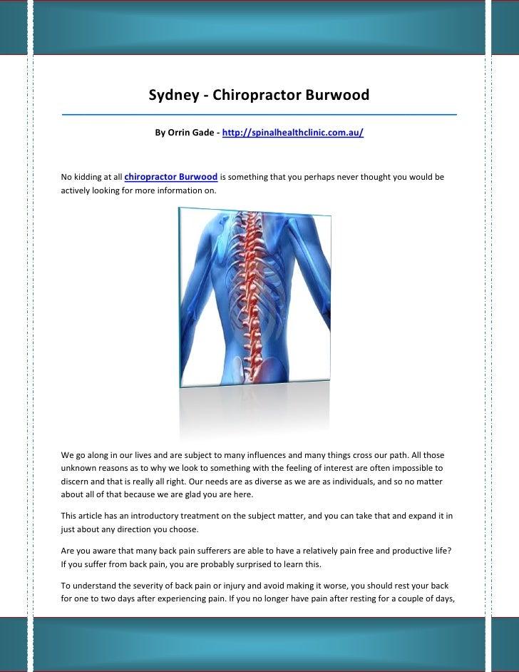 Sydney - Chiropractor Burwood_____________________________________________________________________________________        ...