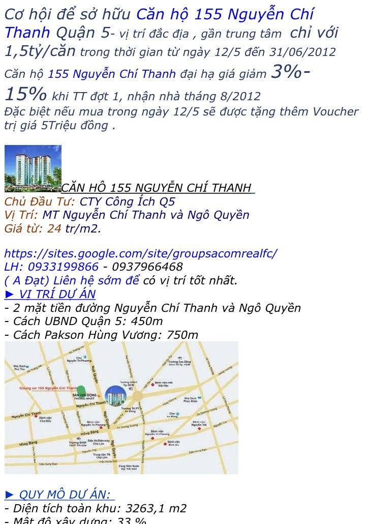 Căn hộ chung cư 155 Nguyễn Chí Thanh