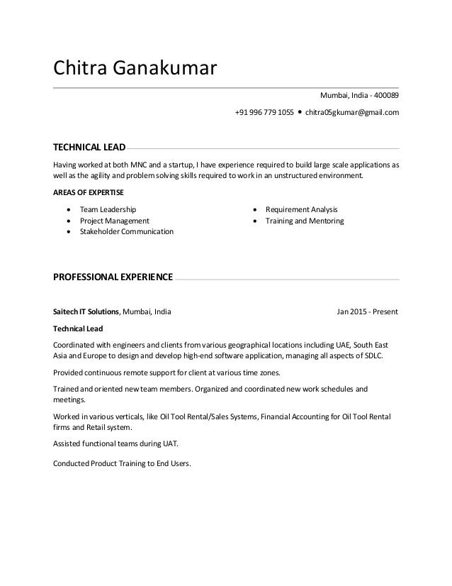 chitra ganakumar resume