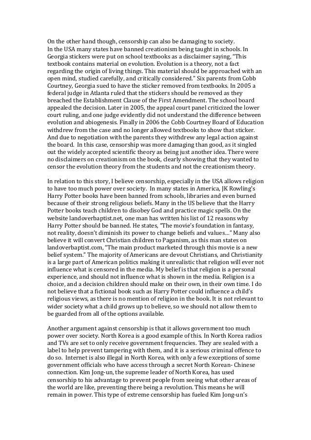 good reasons for internet censorship essay
