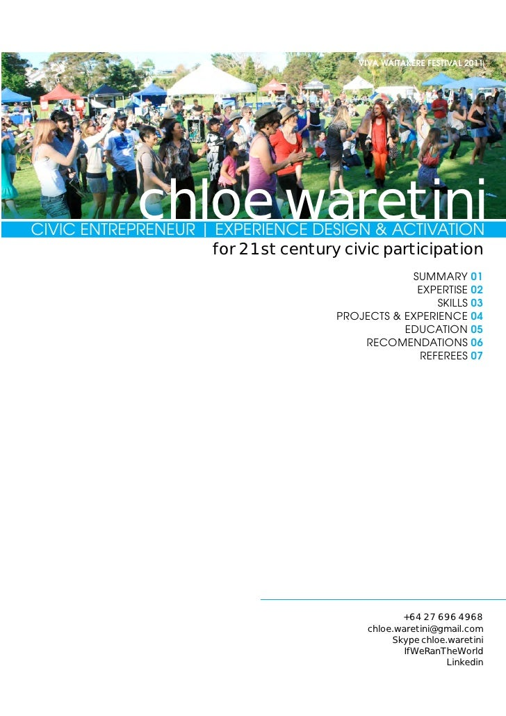 Chloe Waretini : Project Portfolio 2012