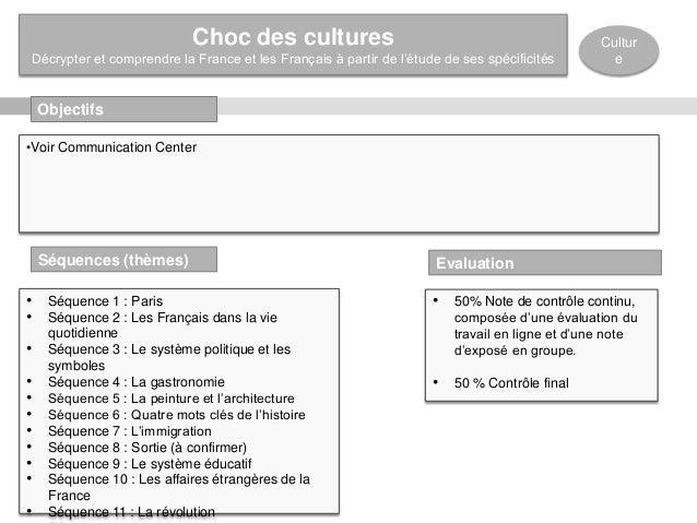 Objectifs Cultur e •Voir Communication Center Séquences (thèmes) • Séquence 1 : Paris • Séquence 2 : Les Français dans la ...
