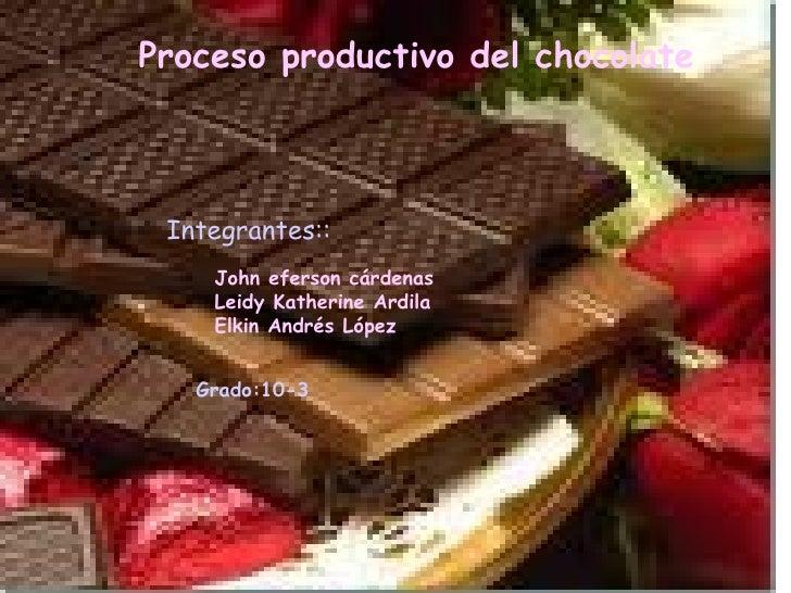 Proceso productivo del chocolate Integrantes:: John eferson cárdenas  Leidy Katherine Ardila  Elkin Andrés López   Grado:1...