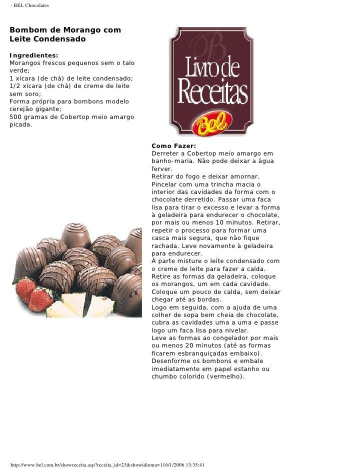 Chocolates bel livrodereceitas