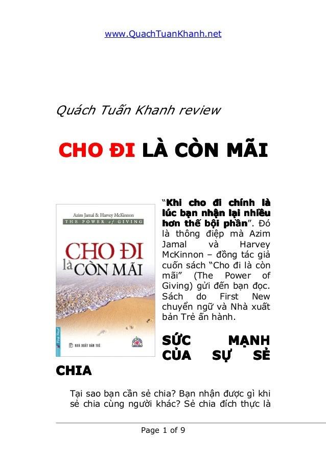 """www.QuachTuanKhanh.net Page 1 of 9 Quách Tuấn Khanh review CHOCHOCHOCHO ĐĐĐĐIIII LLLLÀÀÀÀ CCCCÒÒÒÒNNNN MMMMÃÃÃÃIIII """"KhiKh..."""